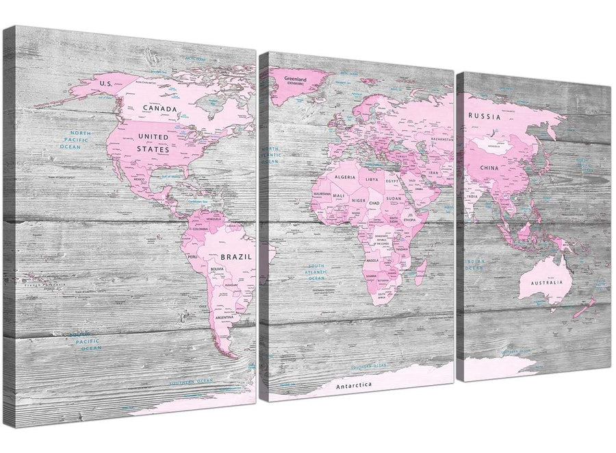 Oversized Pink Grey Large Pink Grey Map Of World Atlas Canvas Wall Art Print – Maps Canvas Multi 3 Panel 3302 For Your Study