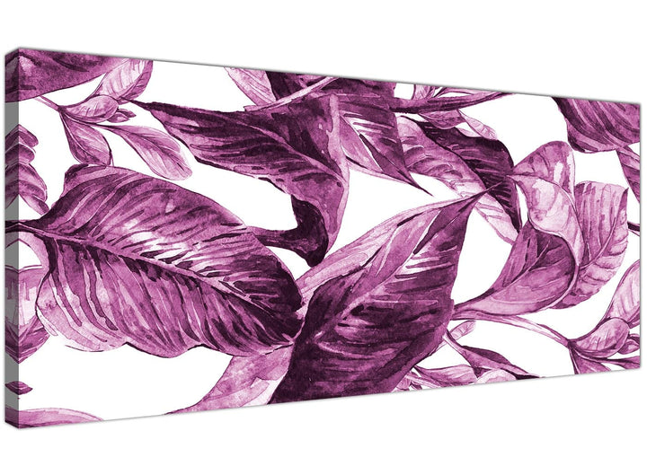 Oversized Plum Aubergine White Tropical Leaves Canvas Modern 120cm Wide 1319 For Your Girls Bedroom