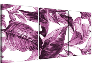 Oversized Plum Aubergine White Tropical Leaves Canvas Multi 3 Set 3319 For Your Living Room