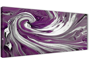 Oversized Plum Purple White Swirls Modern Abstract Canvas Wall Art Modern 120cm Wide 1353 For Your Bedroom