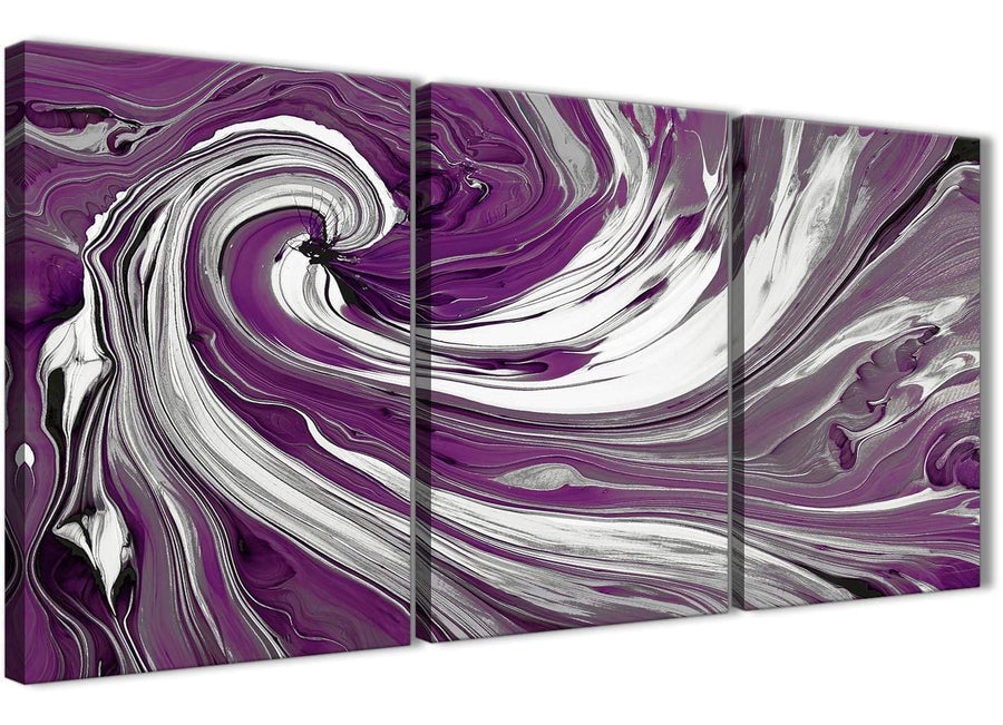 Oversized Plum Purple White Swirls Modern Abstract Canvas Wall Art Split 3 Set 125cm Wide 3353 For Your Living Room