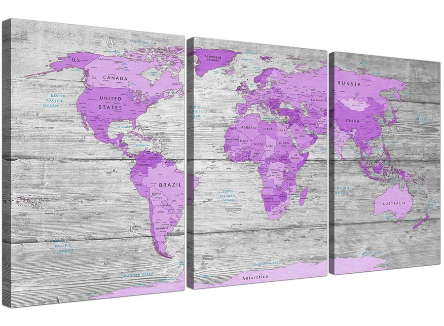 cheap purple grey large purple and grey map of world atlas canvas wall art print maps canvas split 3 set 3298 for your teenage girls bedroom