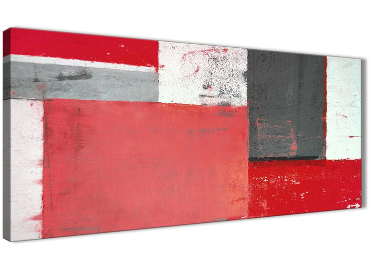 Oversized Red Grey Abstract Painting Canvas Wall Art Modern 120cm Wide 1343 For Your Bedroom