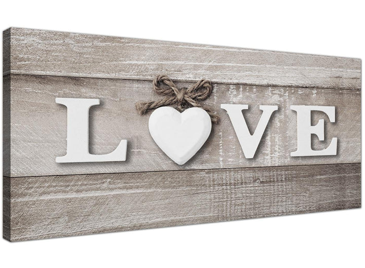 Oversized Shabby Chic Love Quote Beige Canvas Modern 120cm Wide 1297 For Your Bedroom