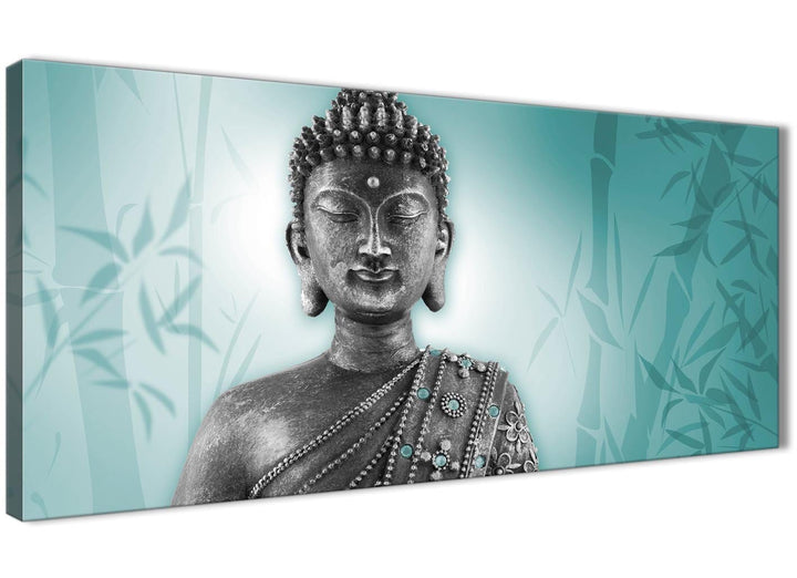 Oversized Teal And Grey Silver Wall Art Prints Of Buddha Canvas Modern 120cm Wide 1327 For Your Living Room
