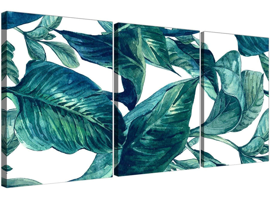 Oversized Teal Blue Green Tropical Exotic Leaves Canvas Multi 3 Panel 3325 For Your Dining Room