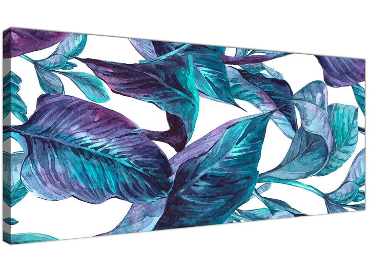 Oversized Turquoise And White Tropical Leaves Canvas Modern 120cm Wide 1323 For Your Living Room