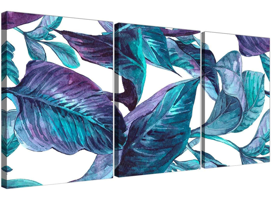 Oversized Turquoise And White Tropical Leaves Canvas Split 3 Piece 3323 For Your Dining Room