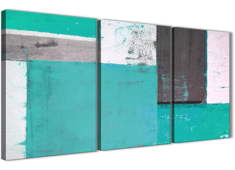Oversized Turquoise Grey Abstract Painting Canvas Wall Art Multi Set Of 3 125cm Wide 3345 For Your Bedroom