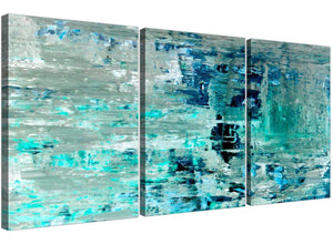 Oversized Turquoise Teal Abstract Painting Wall Art Print Canvas Split 3 Panel 3333 For Your Bedroom