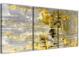Oversized Yellow Abstract Painting Wall Art Print Canvas Split 3 Part 125cm Wide 3357 For Your Kitchen