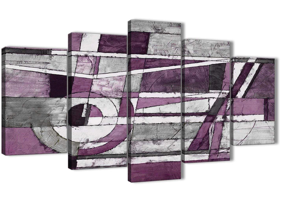 Oversized 5 Piece Aubergine Grey White Painting Abstract Dining Room Canvas Pictures Decorations - 5406 - 160cm XL Set Artwork