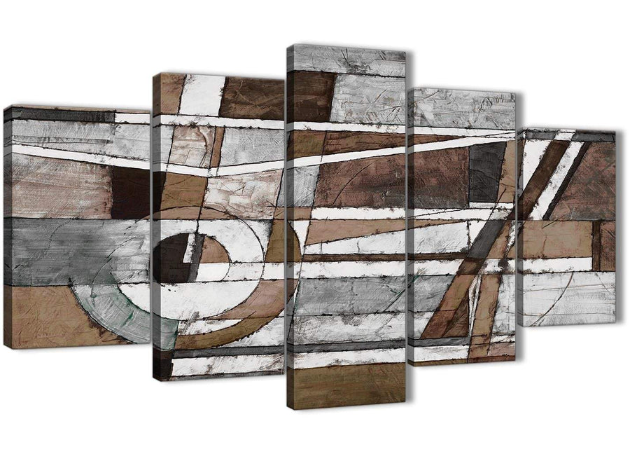 Oversized 5 Part Brown Beige White Painting Abstract Office Canvas Pictures Decorations - 5407 - 160cm XL Set Artwork