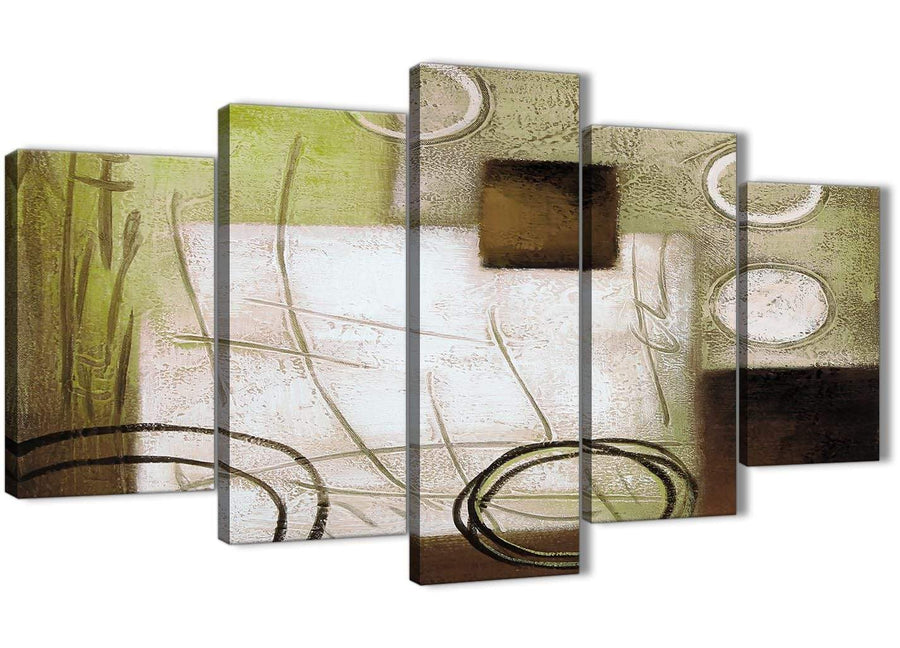 Oversized 5 Panel Brown Green Painting Abstract Bedroom Canvas Wall Art Decor - 5421 - 160cm XL Set Artwork
