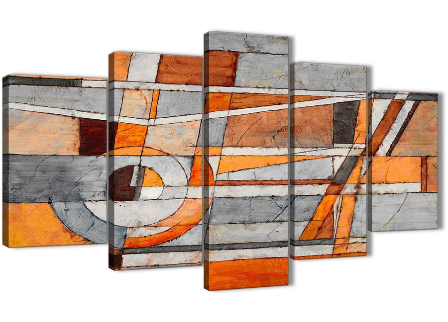 Oversized 5 Panel Burnt Orange Grey Painting Abstract Living Room Canvas Pictures Decorations - 5405 - 160cm XL Set Artwork