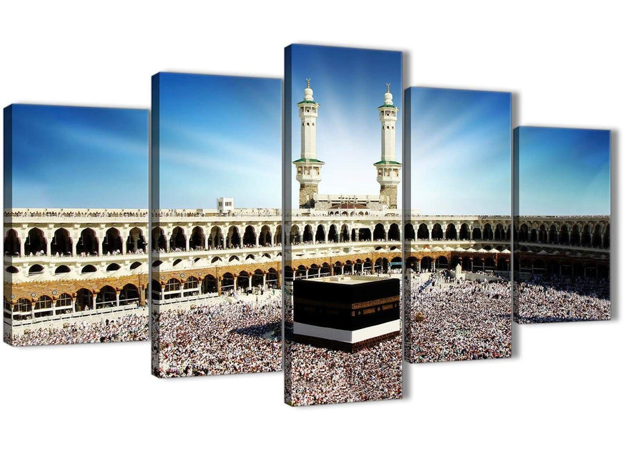 Oversized 5 Piece Canvas Wall Art Pictures - Islamic Canvas - Hajj Pilgrimage Kaaba - 5191 - 160cm XL Set Artwork