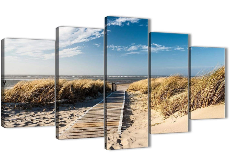 Oversized 5 Piece Landscape Canvas Wall Art Prints - Pathway to the Ocean - 5197 - 160cm XL Set Artwork