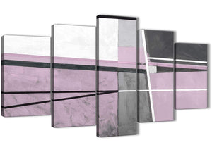 Oversized 5 Piece Lilac Grey Painting Abstract Living Room Canvas Pictures Decor - 5395 - 160cm XL Set Artwork
