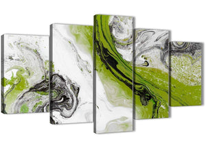 Oversized 5 Panel Lime Green and Grey Swirl Abstract Dining Room Canvas Pictures Decor - 5464 - 160cm XL Set Artwork
