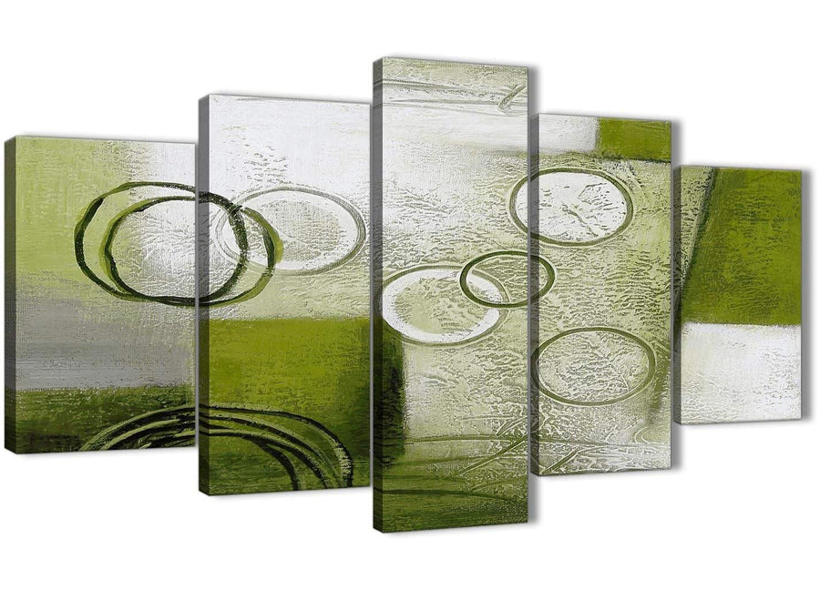 Oversized 5 Panel Lime Green Painting Abstract Bedroom Canvas Wall Art Decor - 5434 - 160cm XL Set Artwork