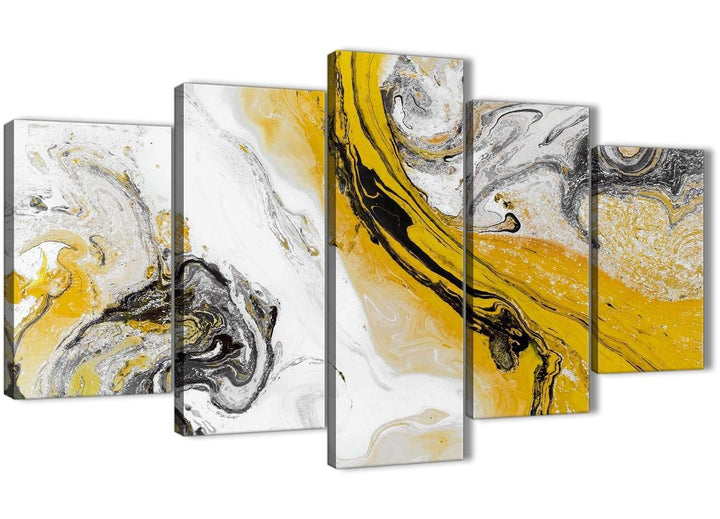 Oversized 5 Piece Mustard Yellow and Grey Swirl Abstract Dining Room Canvas Pictures Decor - 5462 - 160cm XL Set Artwork