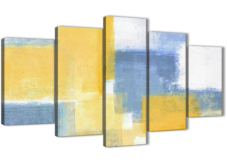 Oversized 5 Panel Mustard Yellow Blue Abstract Dining Room Canvas Pictures Decor - 5371 - 160cm XL Set Artwork
