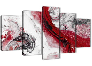Oversized 5 Piece Red and Grey Swirl Abstract Bedroom Canvas Wall Art Decor - 5467 - 160cm XL Set Artwork