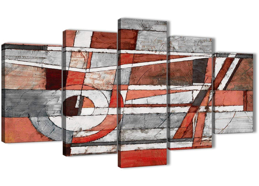 Oversized 5 Piece Red Grey Painting Abstract Office Canvas Wall Art Decor - 5401 - 160cm XL Set Artwork