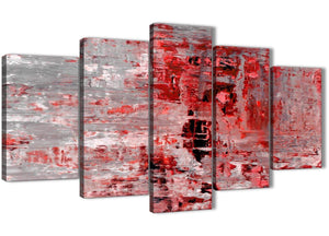 Oversized 5 Panel Red Grey Painting Abstract Office Canvas Pictures Decor - 5414 - 160cm XL Set Artwork