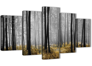 Oversized 5 Piece Yellow and Grey Forest Woodland Trees Dining Room Canvas Wall Art Decorations - 5384 - 160cm XL Set Artwork