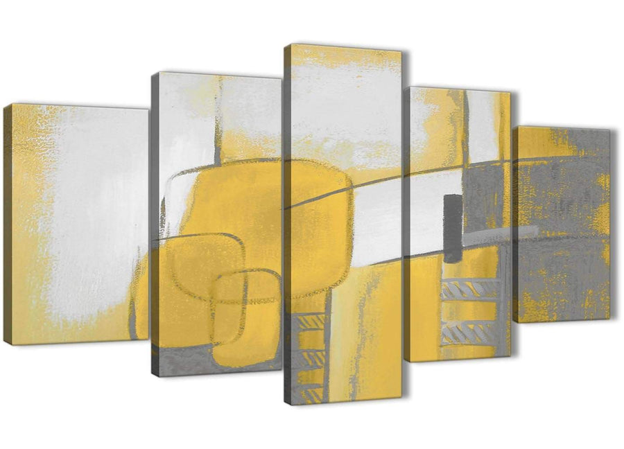 Oversized 5 Panel Mustard Yellow Grey Painting Abstract Bedroom Canvas Pictures Decor - 5419 - 160cm XL Set Artwork