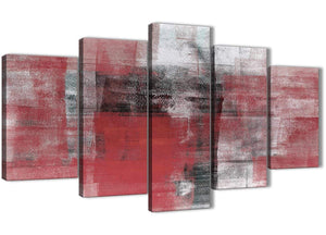 Oversized 5 Piece Red Black White Painting Abstract Dining Room Canvas Pictures Decor - 5397 - 160cm XL Set Artwork