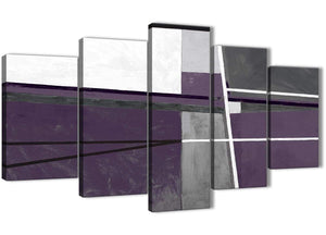 Oversized 5 Panel Aubergine Grey Painting Abstract Dining Room Canvas Wall Art Decor - 5392 - 160cm XL Set Artwork
