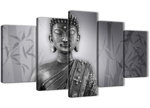 Oversized 5 Panel Black White Buddha Office Canvas Wall Art Decor - 5373 - 160cm XL Set Artwork