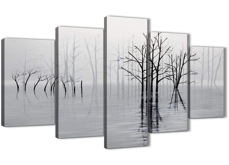 Oversized 5 Piece Black White Grey Tree Landscape Painting Dining Room Canvas Pictures Decorations - 5416 - 160cm XL Set Artwork