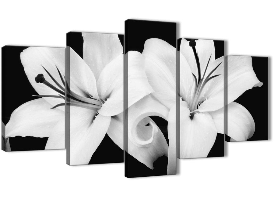 Oversized 5 Piece Black White Lily Flower Dining Room Canvas Wall Art Decor - 5458 - 160cm XL Set Artwork