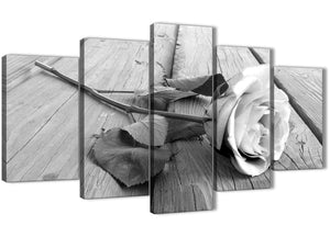 Oversized 5 Piece Black White Rose Floral Dining Room Canvas Wall Art Decorations - 5372 - 160cm XL Set Artwork