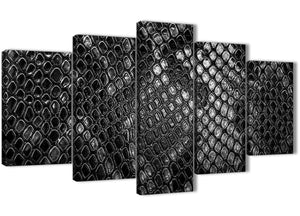 Oversized 5 Panel Black White Snakeskin Animal Print Abstract Bedroom Canvas Pictures Decor - 5510 - 160cm XL Set Artwork