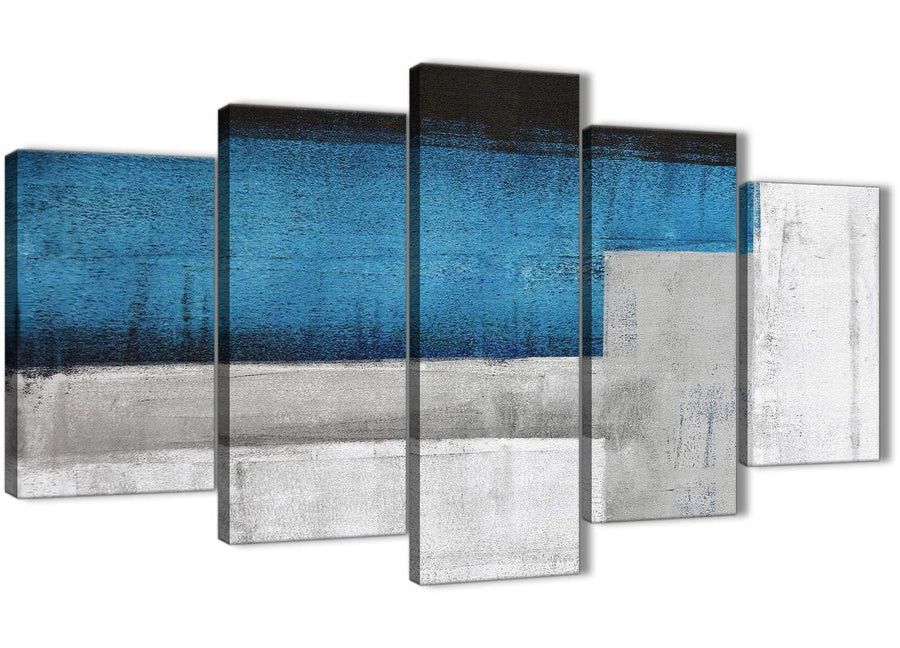 Oversized 5 Panel Blue Grey Painting Abstract Living Room Canvas Wall Art Decor - 5423 - 160cm XL Set Artwork