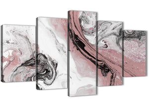 Oversized 5 Panel Blush Pink and Grey Swirl Abstract Office Canvas Wall Art Decor - 5463 - 160cm XL Set Artwork