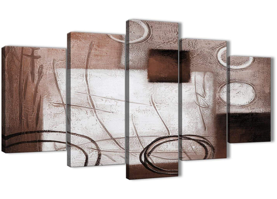 Oversized 5 Panel Brown White Painting Abstract Office Canvas Pictures Decorations - 5422 - 160cm XL Set Artwork