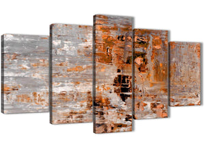 Oversized 5 Piece Burnt Orange Grey Painting Abstract Living Room Canvas Pictures Decor - 5415 - 160cm XL Set Artwork