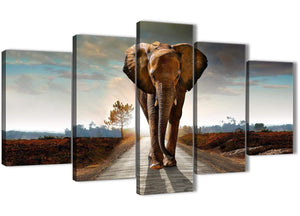 Oversized 5 Piece Canvas Wall Art Pictures - Modern Elephant Landscape - 5209 - 160cm XL Set Artwork