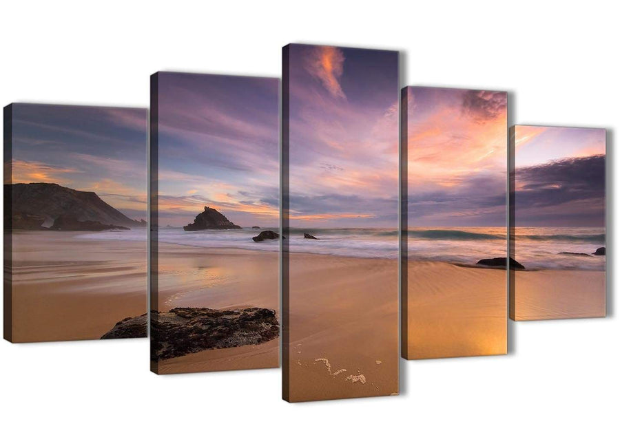 Oversized 5 Panel Canvas Wall Art Pictures - Panoramic Landscape Beach Sunset - 5198 - 160cm XL Set Artwork