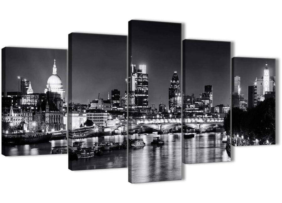 Oversized 5 Piece Landscape Canvas Wall Art Prints - River Thames Skyline of London - 5430 Black White Grey - 160cm XL Set Artwork