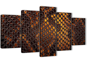 Oversized 5 Panel Mustard Gold Snakeskin Animal Print Abstract Bedroom Canvas Wall Art Decor - 5474 - 160cm XL Set Artwork