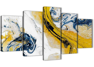 Oversized 5 Piece Mustard Yellow and Blue Swirl Abstract Bedroom Canvas Wall Art Decor - 5469 - 160cm XL Set Artwork