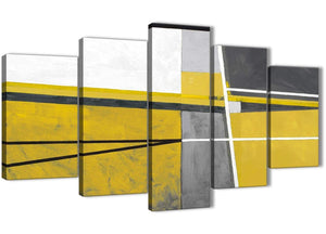 Oversized 5 Piece Mustard Yellow Grey Painting Abstract Bedroom Canvas Wall Art Decor - 5388 - 160cm XL Set Artwork