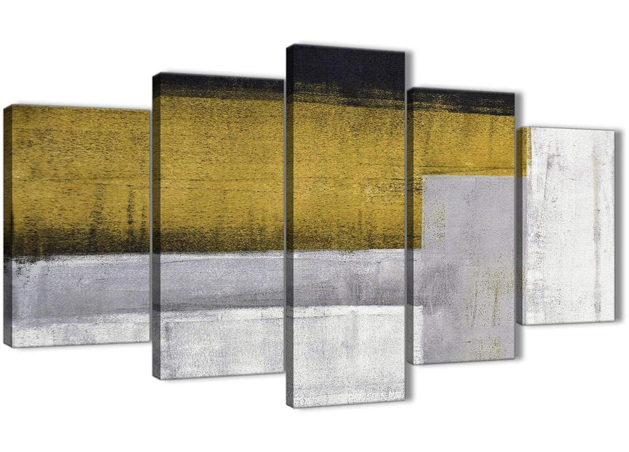 Oversized 5 Piece Mustard Yellow Grey Painting Abstract Office Canvas Pictures Decorations - 5425 - 160cm XL Set Artwork