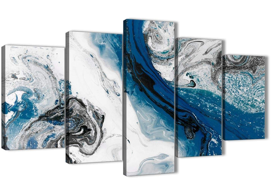 Oversized 5 Piece Blue and Grey Swirl Abstract Office Canvas Wall Art Decor - 5465 - 160cm XL Set Artwork